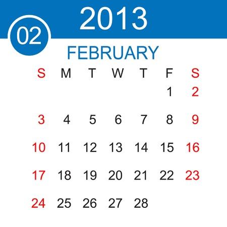 February 2013 Calendar Stock Vector - 15883484