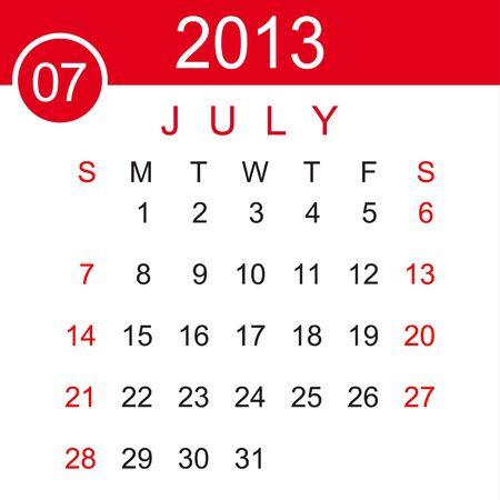 July 2013 Calendar Stock Vector - 15883488