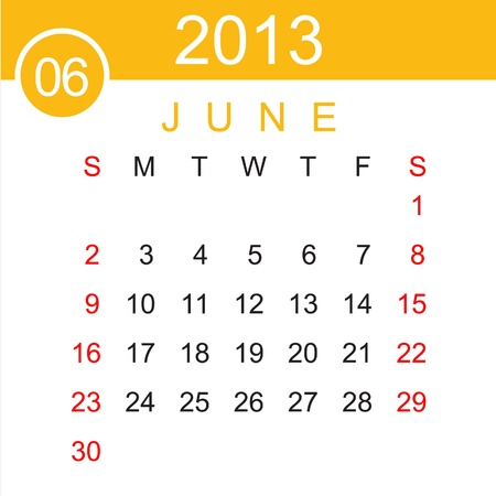 June 2013 Calendar Stock Vector - 15883486