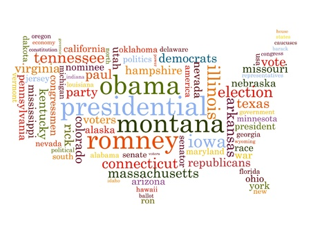 United States Election Word Cloud Map Vector