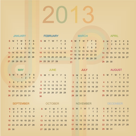 Retro Calendar For Year 2013 Vector