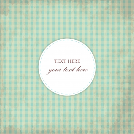 Grunge Blue Vintage Card, Plaid Design Vector
