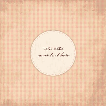 Grunge Pink Vintage Card, Plaid Design Vector