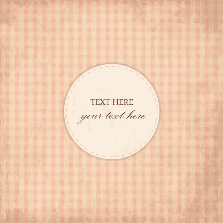 Grunge Pink Vintage Card, Plaid Design