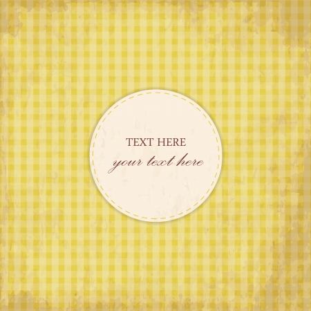 Grunge Yellow Vintage Card, Plaid Design Vector