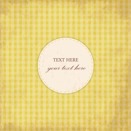Grunge Yellow Vintage Card, Plaid Design