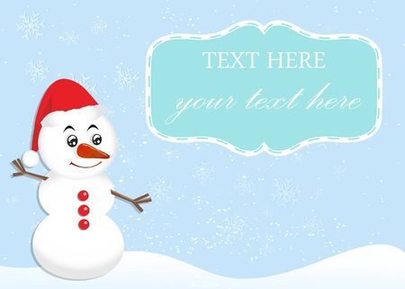 Christmas Greeting Card with Snowman and Label for Message Stock Vector - 16594751