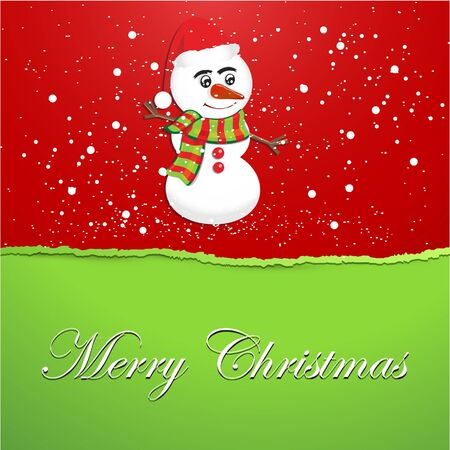 Christmas Torn Paper Snowman Background Vector