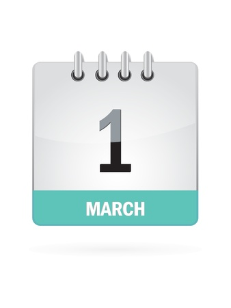 1 March Calendar Icon On White Background Vector