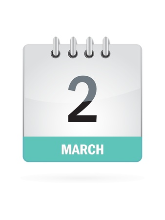 event planning: 2 March Calendar Icon On White Background