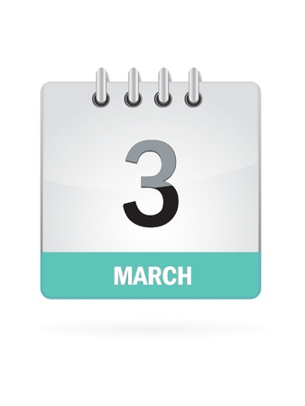 3 March Calendar Icon On White Background Stock Vector - 16697873