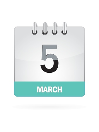 5 March Calendar Icon On White Background Stock Vector - 16697872