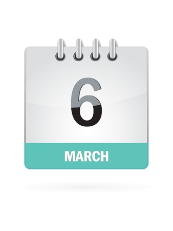 6 March Calendar Icon On White Background Stock Vector - 16697874