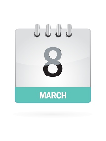 8 March Calendar Icon On White Background Vector