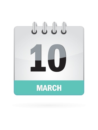 10 March Calendar Icon On White Background