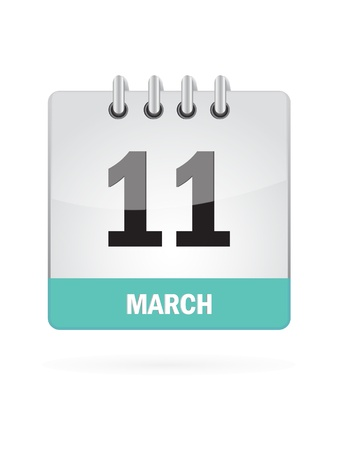 11 March Calendar Icon On White Background Stock Vector - 16719788
