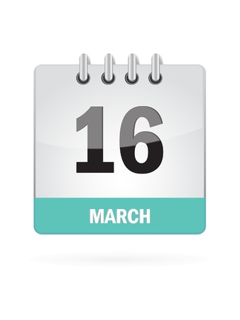 16 March Calendar Icon On White Background Stock Vector - 16719790