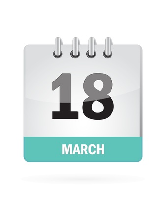 18 March Calendar Icon On White Background Vector