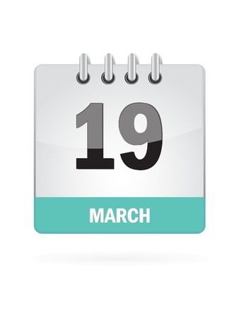 19 March Calendar Icon On White Background Stock Vector - 16719792