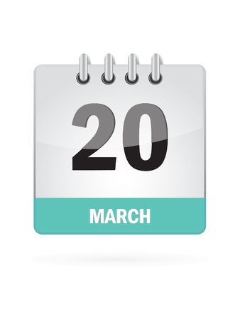 20 March Calendar Icon On White Background Stock Vector - 16719794