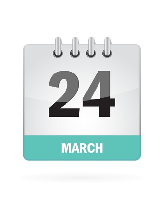 24 March Calendar Icon On White Background Stock Vector - 16929167