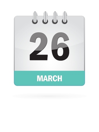 26: 26 March Calendar Icon On White Background