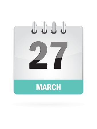 27 March Calendar Icon On White Background Stock Vector - 16929092