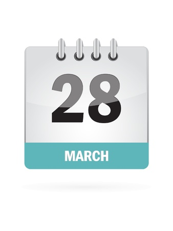 28 March Calendar Icon On White Background Stock Vector - 16929094