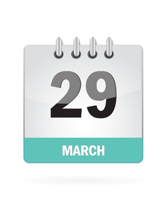 29 March Calendar Icon On White Background Stock Vector - 16929099