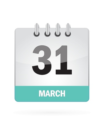 31: 31 March Calendar Icon On White Background Illustration