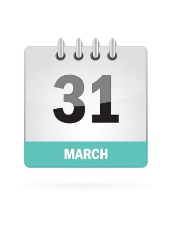 31 March Calendar Icon On White Background Illusztráció