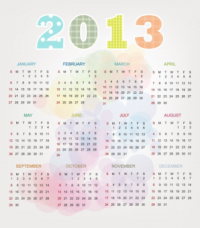 Colorful Vintage 2013 Calendar Stock Vector - 17101460