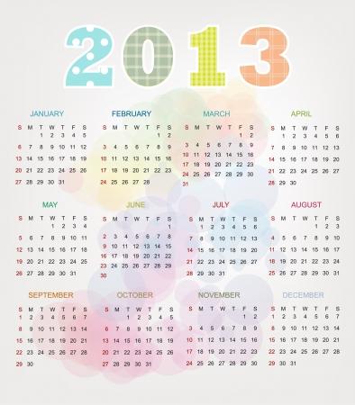 Colorful Vintage 2013 Calendar Stock Vector - 17101460