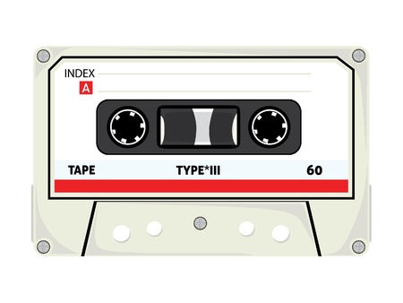 magnetization: Audio Cassette Tapes Isolated on White Background
