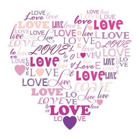 greeting: Love in word collage composed in heart shape