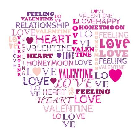 Открытка сердце из слов 434