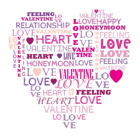 Love in word collage composed in heart shape Vector