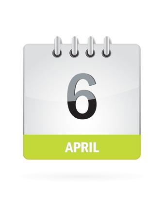 6 April Calendar Icon On White Background