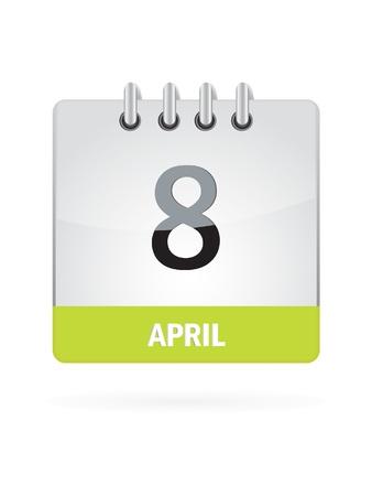 8 April Calendar Icon On White Background Stock Vector - 17882861