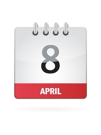 8 April Calendar Icon On White Background Stock Vector - 17882931