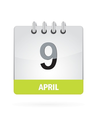 9 April Calendar Icon On White Background Stock Vector - 17882817