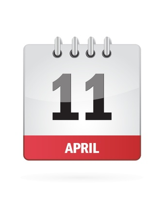 11 April Calendar Icon On White Background Stock Vector - 17882801
