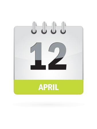12 April Calendar Icon On White Background Vector