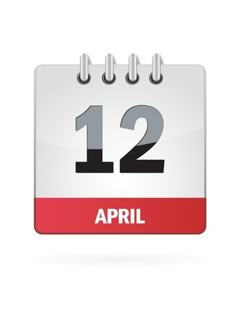 event calendar: 12 April Calendar Icon On White Background