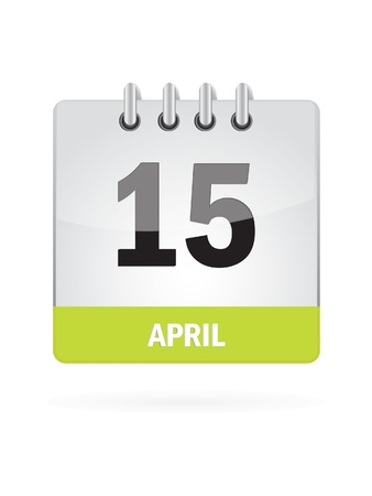 15 April Calendar Icon On White Background Stock Vector - 17880105