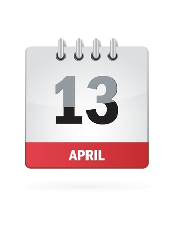 13: 13 April Calendar Icon On White Background