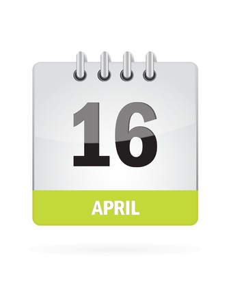 16 April Calendar Icon On White Background Vector