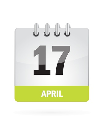 17 April Calendar Icon On White Background Stock Vector - 17882787