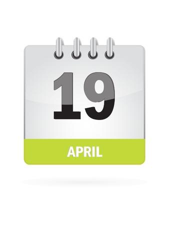 event planning: 19 April Calendar Icon On White Background Illustration