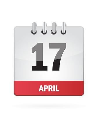 17 April Calendar Icon On White Background Stock Vector - 17882796